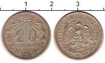 Изображение Монеты Мексика 20 сентаво 1942 Серебро VF Солнце.