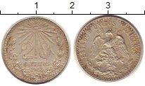 Изображение Монеты Мексика 20 сентаво 1943 Серебро VF Солнце.