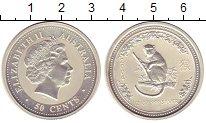 Изображение Монеты Австралия 50 центов 2004 Серебро XF Год обезьяны