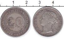 Изображение Монеты Стрейтс-Сеттльмент 20 центов 1898 Серебро VF