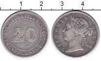 Изображение Монеты Стрейтс-Сеттльмент 20 центов 1899 Серебро XF