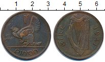 Изображение Монеты Ирландия 1 пенни 1941 Бронза XF-