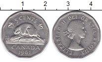 Изображение Монеты Канада 5 центов 1961 Медно-никель XF Елизавета II. Бобр.