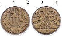 Изображение Монеты Веймарская республика 10 пфеннигов 1935 Латунь XF G