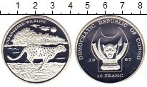 Изображение Монеты Конго 10 франков 2007 Посеребрение Proof Защитим  дикую  прир