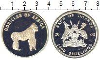 Изображение Монеты Уганда 1000 шиллингов 2003 Посеребрение Proof- Горилла.