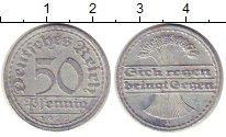 Изображение Монеты Веймарская республика 50 пфеннигов 1922 Алюминий XF А