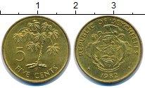 Изображение Монеты Сейшелы 5 центов 1982 Латунь UNC- Пальма