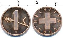 Изображение Монеты Швейцария 1 рапп 2000 Бронза Proof-