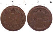Изображение Монеты Веймарская республика 2 пфеннига 1924 Бронза XF