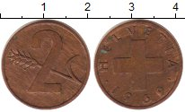 Изображение Монеты Швейцария 2 раппа 1969 Бронза XF
