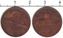 Изображение Монеты Швейцария 2 рапп 1963 Бронза XF