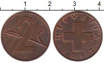 Изображение Монеты Швейцария 2 раппа 1957 Бронза XF