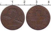 Изображение Монеты Швейцария 2 раппа 1958 Бронза XF