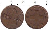 Изображение Монеты Швейцария 2 раппа 1968 Бронза XF