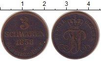 Изображение Монеты Ольденбург 3 шварена 1858 Медь XF- Николаус Фридрих Пет