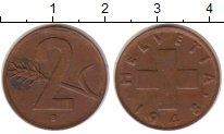 Изображение Монеты Швейцария 2 рапп 1948 Бронза XF