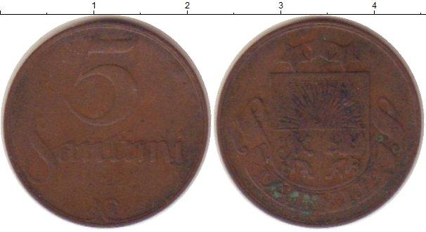 Картинка Монеты Латвия 5 сантим Бронза 1922