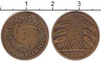Изображение Монеты Веймарская республика 5 пфеннигов 1924 Латунь XF