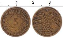 Изображение Монеты Веймарская республика 5 пфеннигов 1924 Латунь XF J