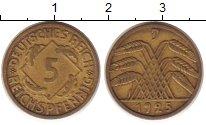 Изображение Монеты Веймарская республика 5 пфеннигов 1925 Латунь XF J