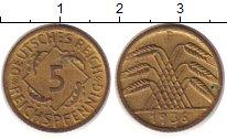 Изображение Монеты Веймарская республика 5 пфеннигов 1936 Латунь XF F