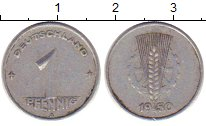 Изображение Монеты ГДР 1 пфенниг 1950 Алюминий XF колос и шестеренка