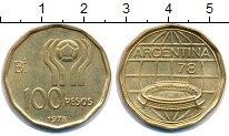 Изображение Монеты Аргентина 100 песо 1978 Латунь UNC- Чемпионат мира по фу