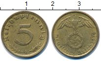Изображение Монеты Третий Рейх 5 пфеннигов 1938 Латунь XF G