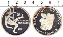 Изображение Монеты Конго 1000 франков 1997 Серебро Proof- Чемпионат мира по фу