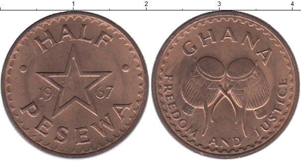 Картинка Монеты Гана 1/2 песева Бронза 1967