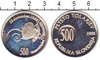 Изображение Монеты Словения 500 толаров 1991 Серебро Proof-