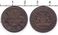 Изображение Монеты Нассау 1 крейцер 1861 Медь XF- Герб