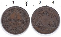 Изображение Монеты Баден 1 крейцер 1963 Медь XF-