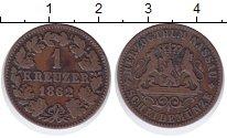 Изображение Монеты Нассау 1 крейцер 1862 Медь XF- Герб