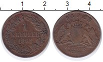 Изображение Монеты Баден 1 крейцер 1962 Медь XF-