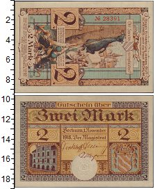 Изображение Банкноты Германия : Нотгельды 2 марки 1918  XF Выпуск 1 ноября 1918