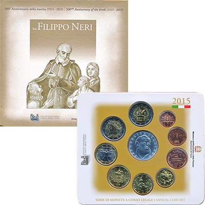 Изображение Подарочные монеты Италия Евронабор 2015 2015  UNC `В набор входят восе