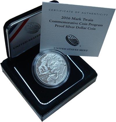 Изображение Подарочные монеты США Марк Твен 2016 Серебро Proof Однодоллоравая монет