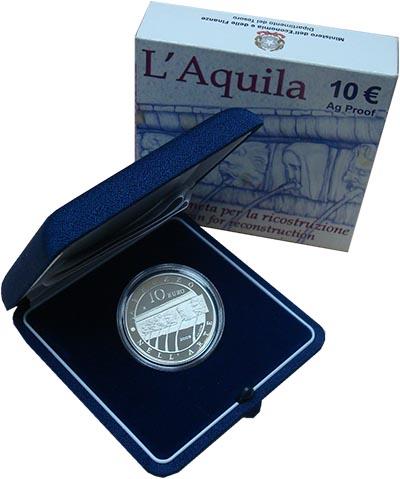 Изображение Подарочные наборы Италия Архитектура Абруццо 2009 Серебро Proof `Монета номиналом 10