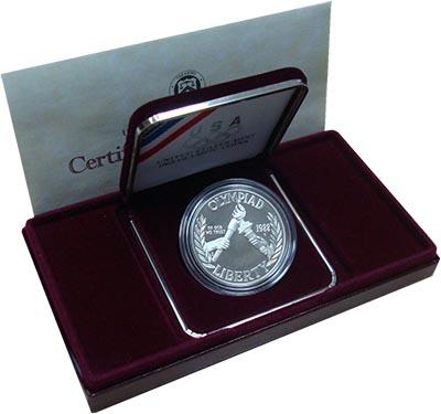 Изображение Подарочные монеты США 1 доллар 1988 Серебро Proof Монета номиналом 1 д