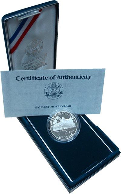 Изображение Монеты США 1 доллар 1990 Серебро Proof- Монета номиналом 1 д