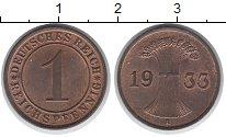 Изображение Монеты Веймарская республика 1 пфенниг 1933 Бронза UNC-