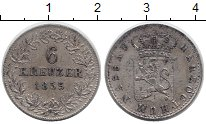 Изображение Монеты Нассау 6 крейцеров 1855 Серебро XF