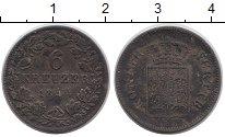 Изображение Монеты Вюртемберг 6 крейцеров 1844 Серебро XF