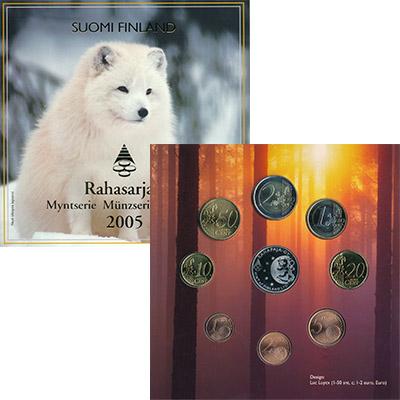 Изображение Подарочные монеты Финляндия Евронабор 2005 года 2005  UNC Набор из восьми моне