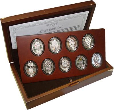 Изображение Подарочные монеты Ниуэ Императорские яйца Фаберже 0 Серебро Proof `Набор из девяти мон