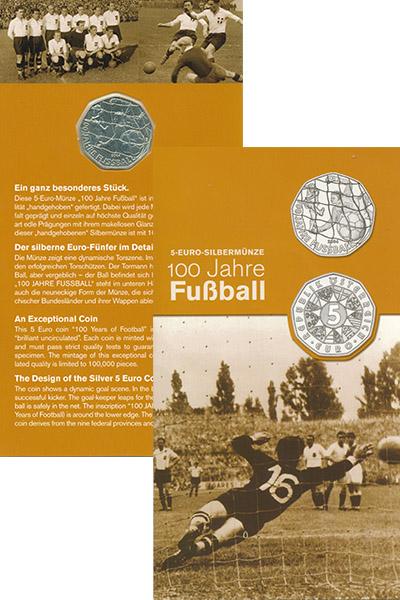 Изображение Подарочные наборы Австрия 100- летие футбола 2004 Серебро UNC Подарочная монета по