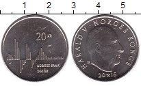 Изображение Монеты Норвегия 20 крон 2016 Латунь UNC 200 - летие  Банка