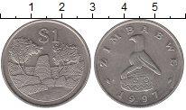 Изображение Монеты Зимбабве 1 доллар 1997 Медно-никель XF Башня.Стена